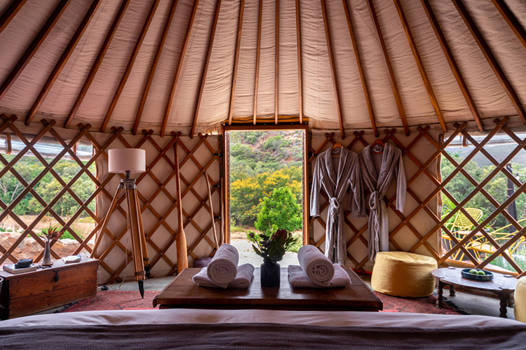 Secluded Getaways in The Cape: Southern Yurts Bedroom