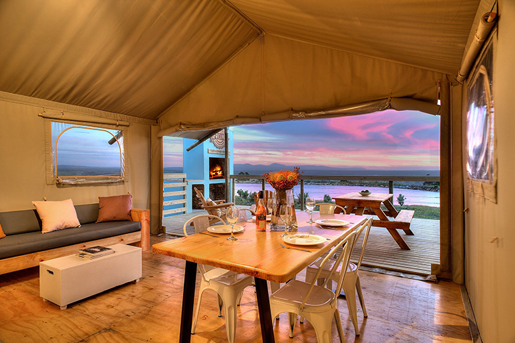 Pet-Friendly Getaways Western Cape: AfriCamps at Stanford Hills Tent Interior